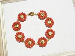 オーダー 赤珊瑚アンティークレトロブレスレット
